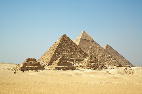 The Egyptian pyramids at Giza.