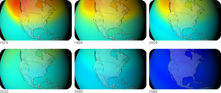 Map of ozone levels over North America