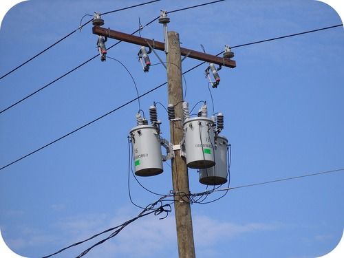 Local power transformer on a pole