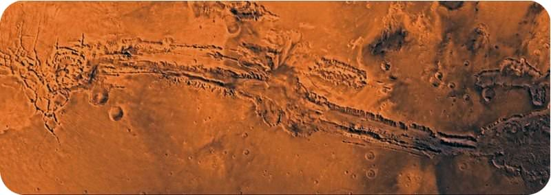 The largest canyon in the solar system, Valles Marineris