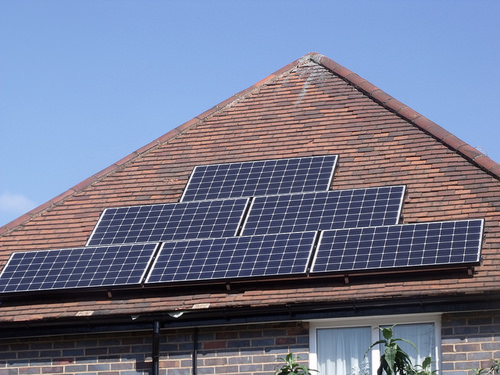 Solar panels convert sunlight into electricity