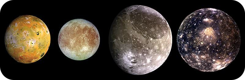 Picture of the Galilean moons, Io, Europa, Ganymede, and Callisto