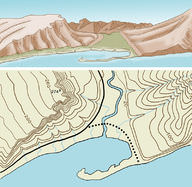 A 3D ground model and its topographic map
