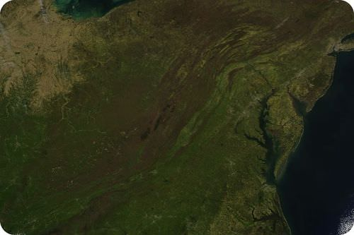 Satellite map of the Appalachian Mountains