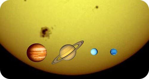 The relative sizes of the Sun, Jupiter, Saturn, Uranus, and Neptune