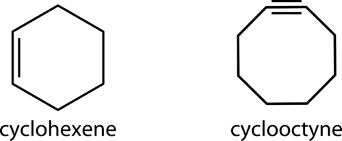 Examples of a cycloalkene and a cycloalkyne