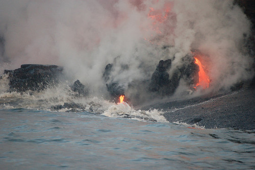 Lava erupting in the water can form bulbous, pillowy forms