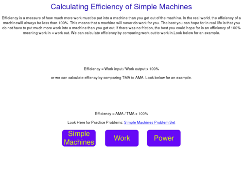 Calculating Efficiency of Simple Machines