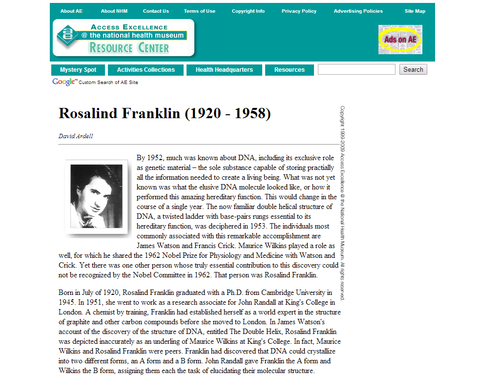 Rosalind Franklin's Work with DNA