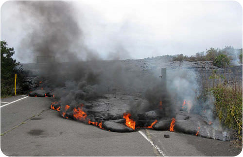 Road covered by lava from an eruption at Kilauea in Hawaii