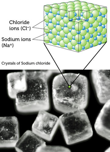Sodium chloride crystals are cubic in shape
