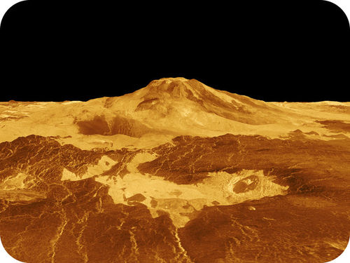 An image of the Maat Mons volcano on Venus, with lava beds in the foreground