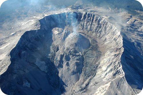 Lava domes forming in the crater of Mount St. Helens