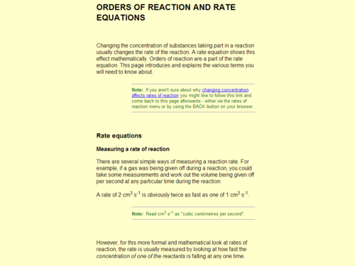 Orders of Reactions and Rate Equations