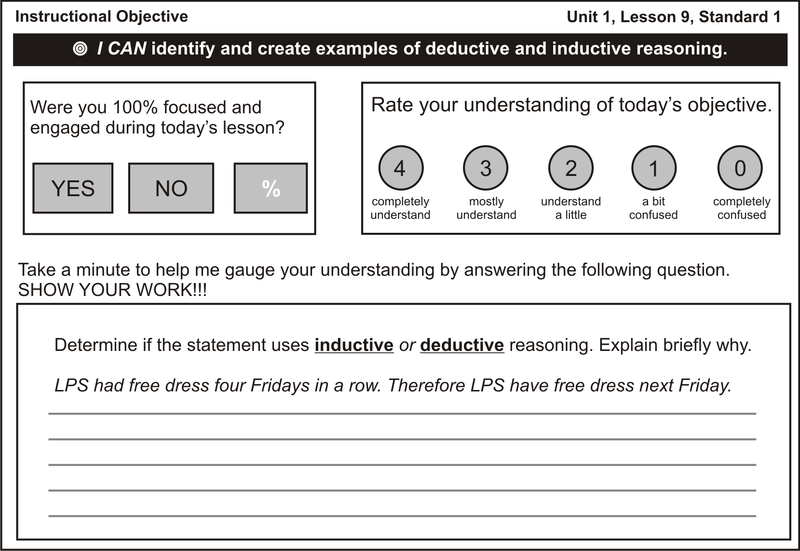 example of deductive lesson plan in math
