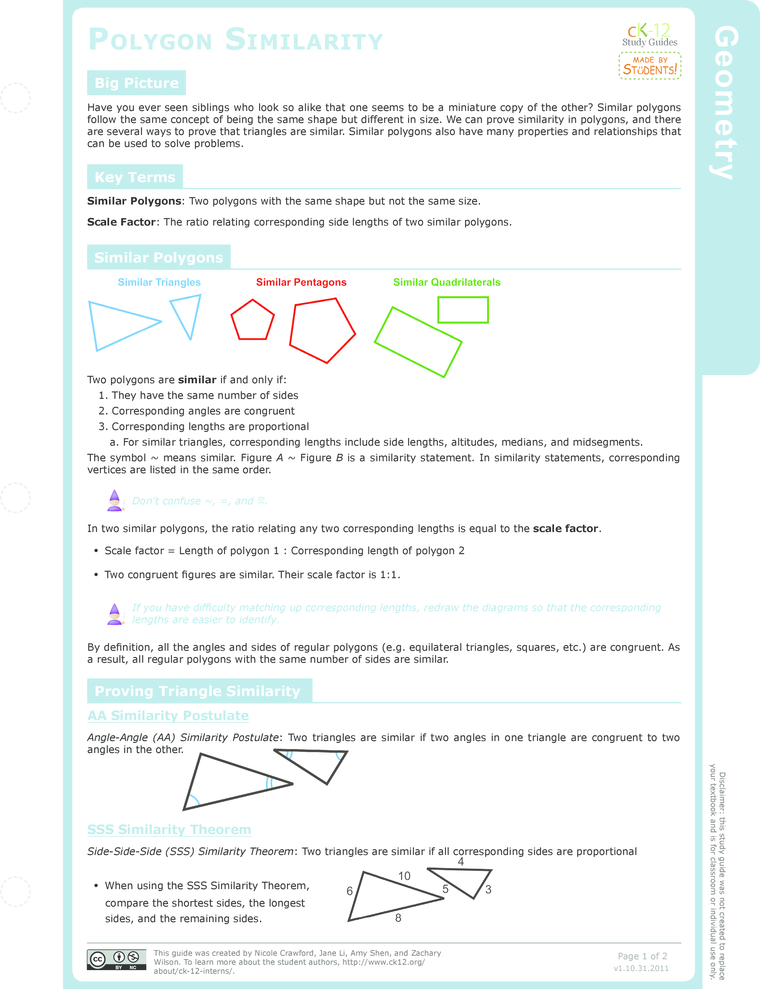 worksheet Similar Polygons Worksheet similar polygons and scale factors ck 12 foundation polygon similarity study guide