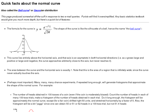 Quick Facts About the Normal Curve