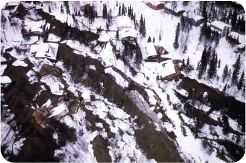 A landslide in a neighborhood in Anchorage, Alaska, after the 1964 Great Alaska earthquake