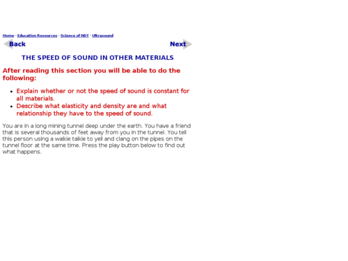 The Speed of Sound in Other Materials