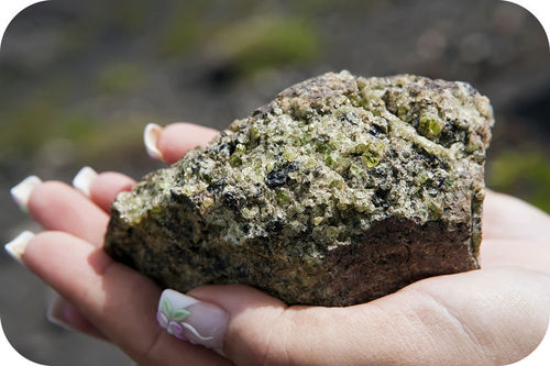 Peridotite is formed of crystals of olivine and pyroxene