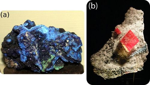 Azurite, malachite, and rhodochrosite are carbonate minerals