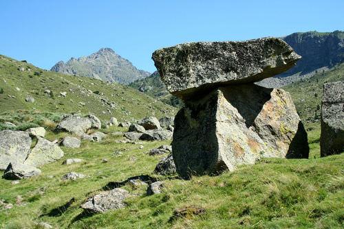 A large boulder dropped by a glacier is a glacial erratic