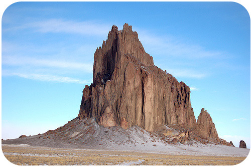 Shiprock in New Mexico, which is the neck of an old volcano