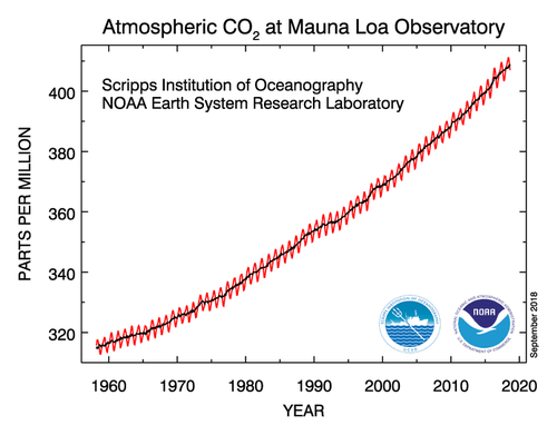 Graph of rising carbon dioxide levels at the Mauna Loa Observatory