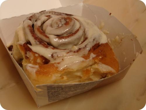 Freshly baked cinnamon bun