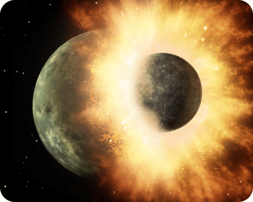 An artist's depiction of the impact that produced the Moon