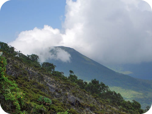 Mount Gahinga, a mountain in Uganda, located in the East African Rift valley