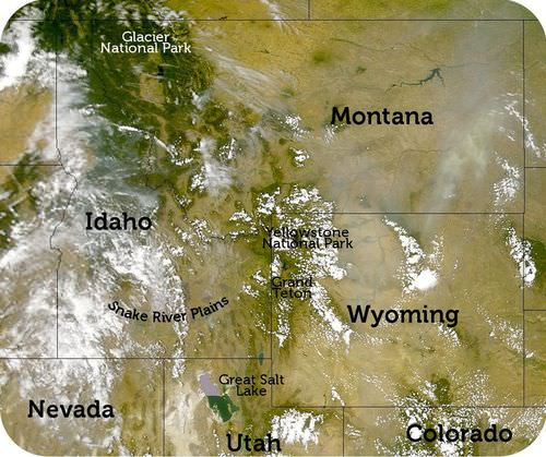 Map of major geographic features of Idaho, Montana, and Wyoming
