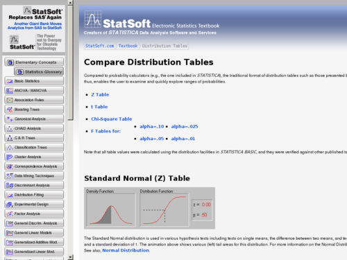 Compare Distributions Table