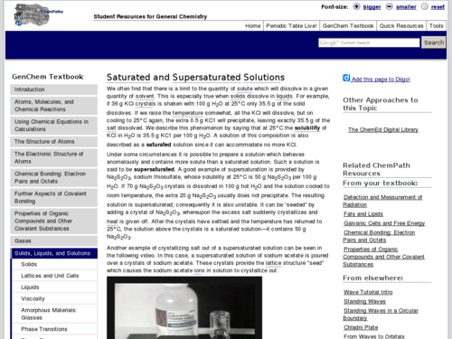 Saturated and Supersaturated Solutions