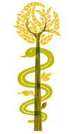 The Rod of Asclepius, where the snake is a symbol of healing and medicine