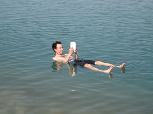 Man floating on the Dead Sea