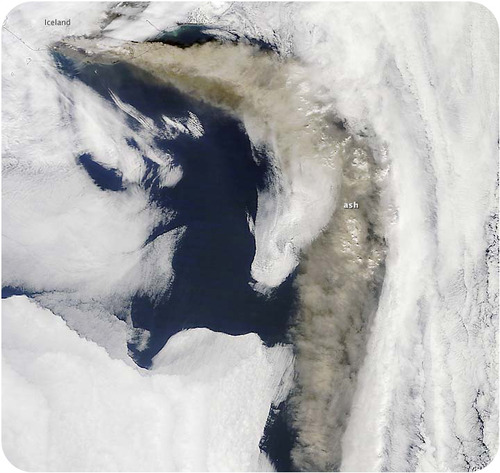 Satellite photo of the ash plume from the eruption of the Eyjafjallajökull volcano in Iceland