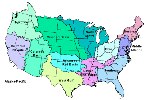 The river basins in the United States