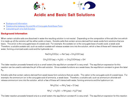 Acidic and Basic Salt Solutions