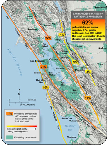 Map of probabilities of earthquake along faults in the San Francisco Bay Area