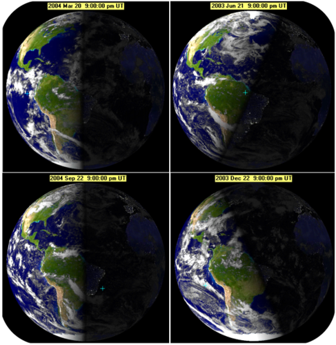 Pictures of Earth during the spring equinox, summer solstice, vernal equinox, and winter solstice