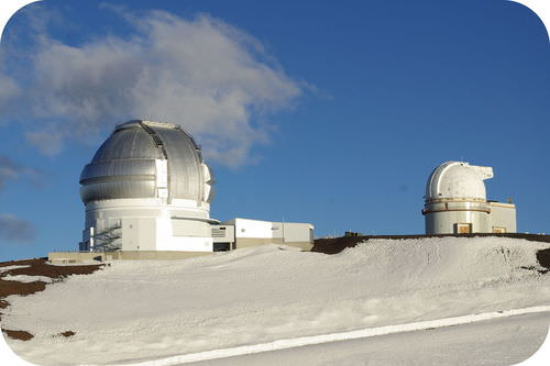 Telescopes on top of a volcano in Hawaii