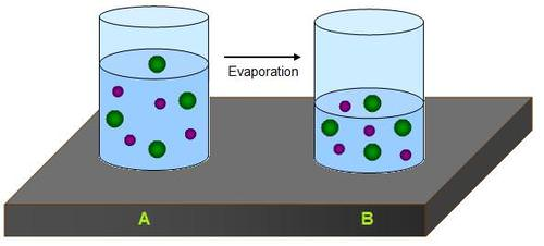 Crystals form when water evaporates