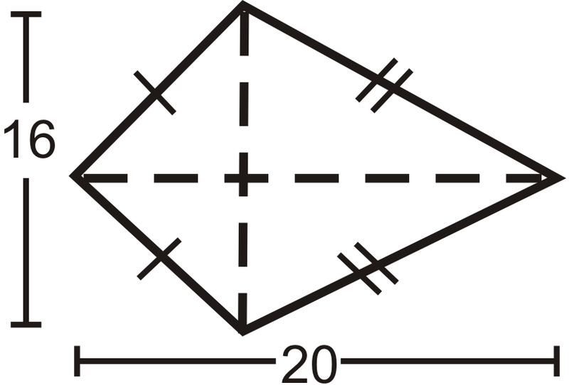 how to find the area of a kite or rhombus