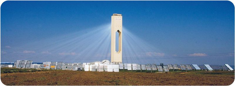 A solar power tower is used to concentrate the solar energy collected by many solar panels
