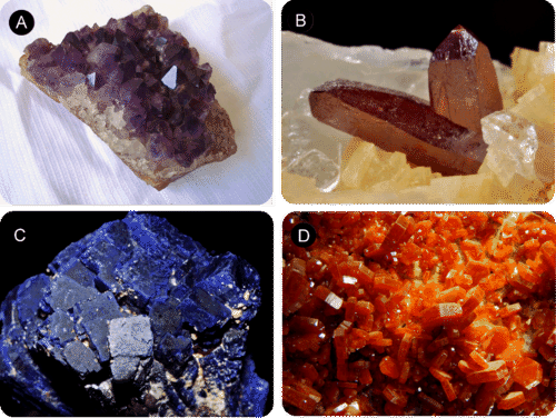 Pictures of amethyst, cinnabar, azurite, and vanadinite