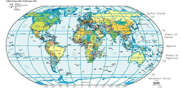 Lines of latitude and longitude on a map