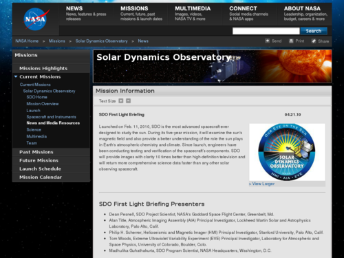 SDO First Light Briefing