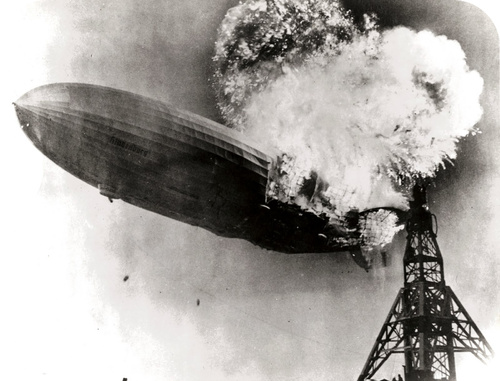 The explosion of the Hindenburg was a combustion reaction