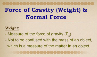 Force of Gravity (Weight) and Normal Force - Overview